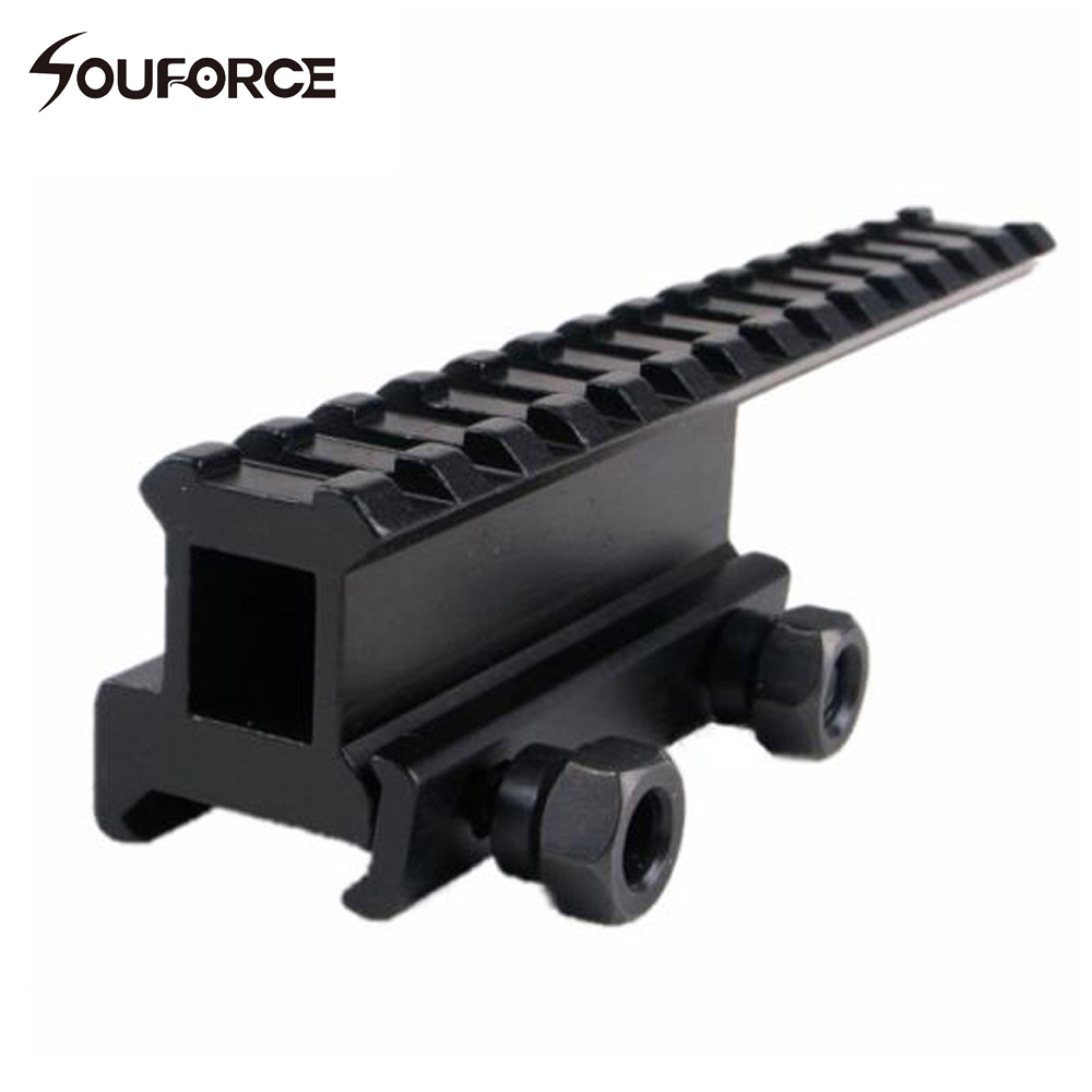 Tactical Extension Rail Mount High Riser Base Converter for 20mm Picatinny/Weaver Rail for Riflescopes Airsoft Guns grip 20mm rail mount set for airsoft ak black