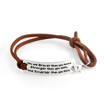 "Brown Leather Bracelet ""You Are Braver Than You Believe Stronger Than You Seem and Smarter Than You Think "" Fashion Jewelry(China)"