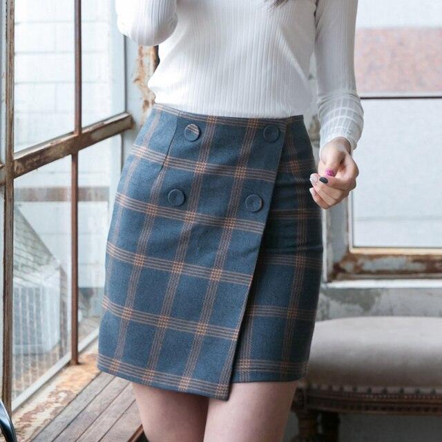 Plaid Skirt A-Line Saias Pacote Hip Apertado Cintura Alta Mini Patchwork Formal Saia Grosso Quente Outono Sping Saias Lápis