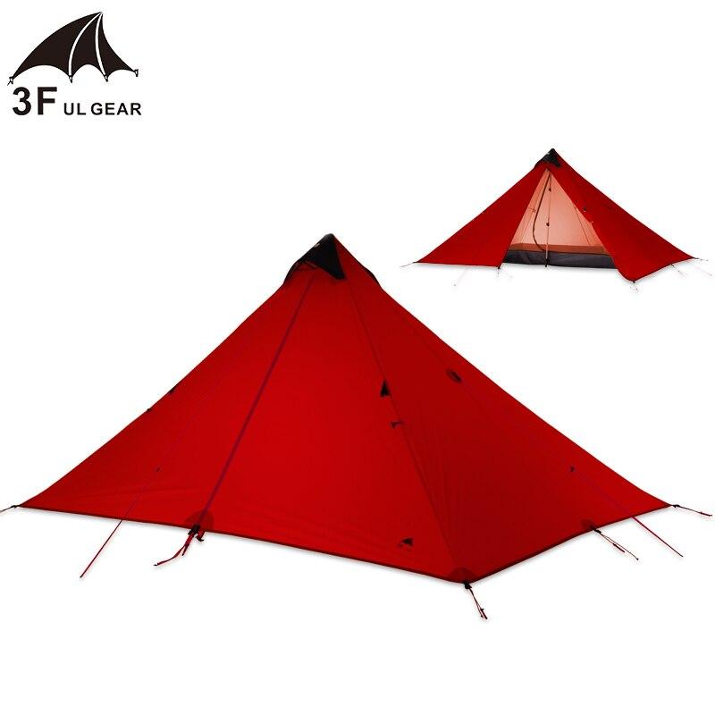 3F UL Vitesse une personne 15D Silicone Revêtement Sans Tige Double Couches Tente Étanche Portable Ultra-Léger Camping 3 Saison
