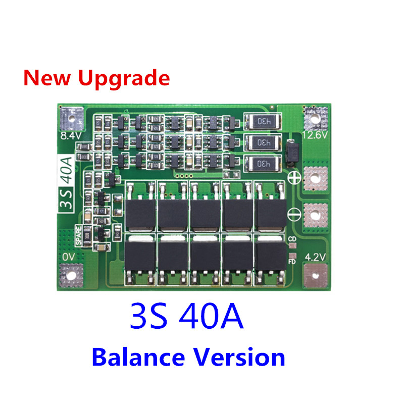 3S 40A <font><b>BMS</b></font> 11.1V 12.6V 18650 <font><b>lithium</b></font> <font><b>battery</b></font> protection Board <font><b>with</b></font> balanced Version for drill 40A current/ <font><b>Motorcycle</b></font> <font><b>battery</b></font> image