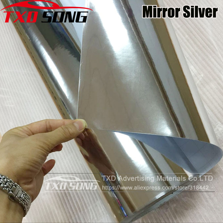 Image 2 - Flexible chrome! Silver chrome mirror vinyl car wrap sticker with import glue and stretchable film Chrome mirror vinyl Sticker-in Car Stickers from Automobiles & Motorcycles