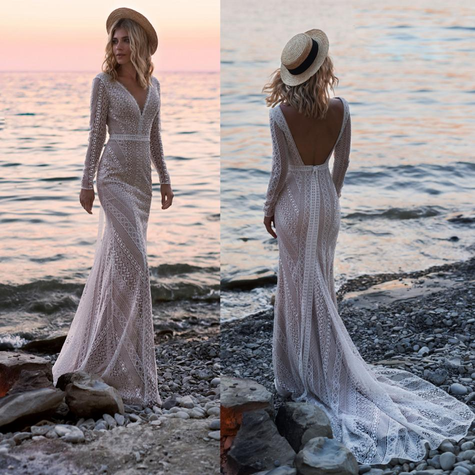 2019 Bohemian Wedding Dresses V Neck Lace Appliques Bridal Gowns Sexy Backless Beach Mermaid Wedding Dress Robe De Mariee
