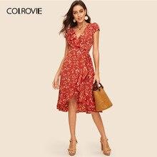 71ce09b797ec COLROVIE Rust Floral Print Ruffle Trim Wrap Dress Women 2019 Summer Deep V  Neck Ladies Boho Fit And Flare High Waist Midi Dress