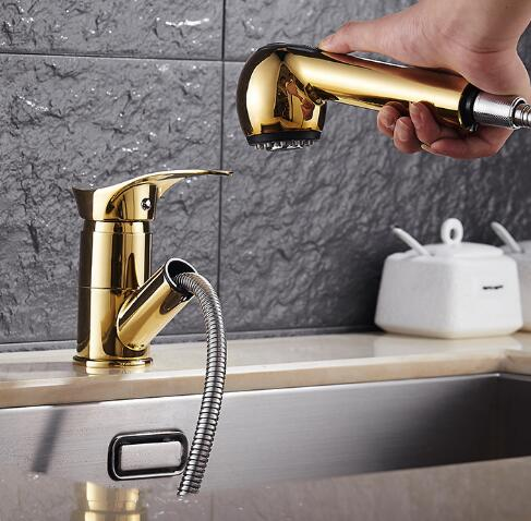 Free shipping gold Swivel Deck Mounted Single Hole kitchen Faucets,Mixers & Taps with pull out shower head luxury sink faucet kitchen sink faucets lift rotatable pull out hose spray head chrome polish silver single handle solid brass deck mount mixers
