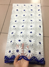 2018 White+Blue African Cord Lace Fabric High Quality Lace Fabric With Beads French Lace Fabrics For Nigerian Wedding Dress