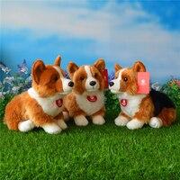 Free Shipping 25CM Welsh Corgi Pembroke Plush Toys Simulation Corgis Stuffed Toy Puppy Dog Plush Dolls