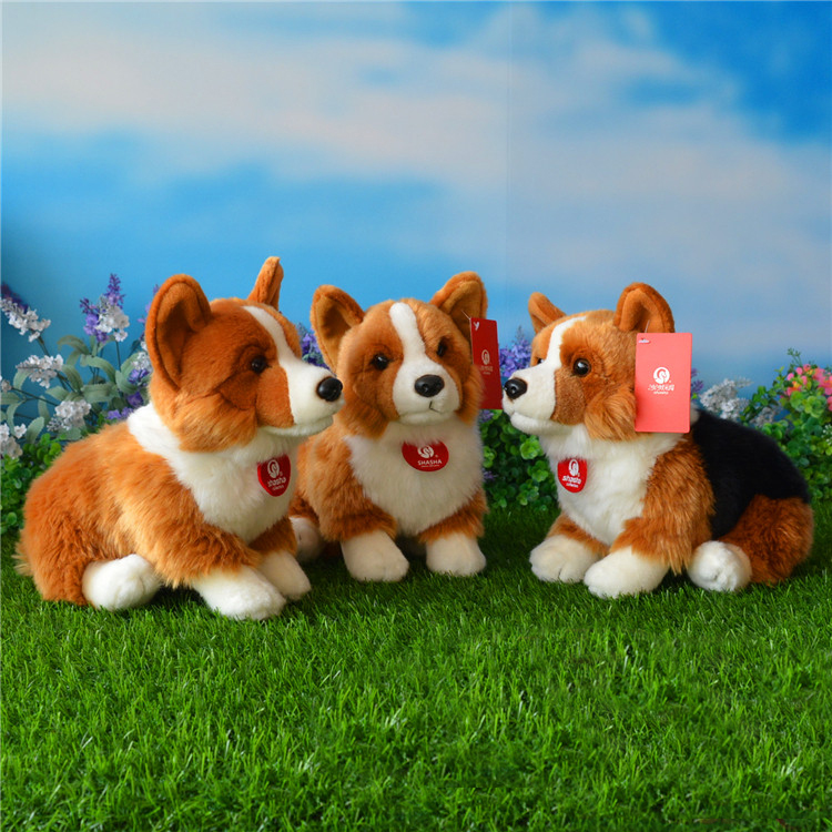 Free Shipping 25CM Welsh Corgi Pembroke Plush Toys Simulation Corgis Stuffed Toy Puppy Dog Plush Dolls Gifts For Kids