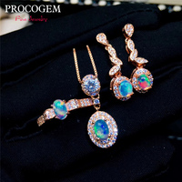PROCOGEM Trendy Natural Opal Jewelry sets for Women Party gifts Necklace Ring Drop Earrings Real gemstones 925 Solid Silver #604