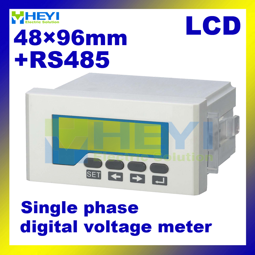 все цены на  Single phase LCD digital voltage meter HY-AV ac dc digital volt meter manufacturer 48*96mm voltmeter with RS485 communication  онлайн