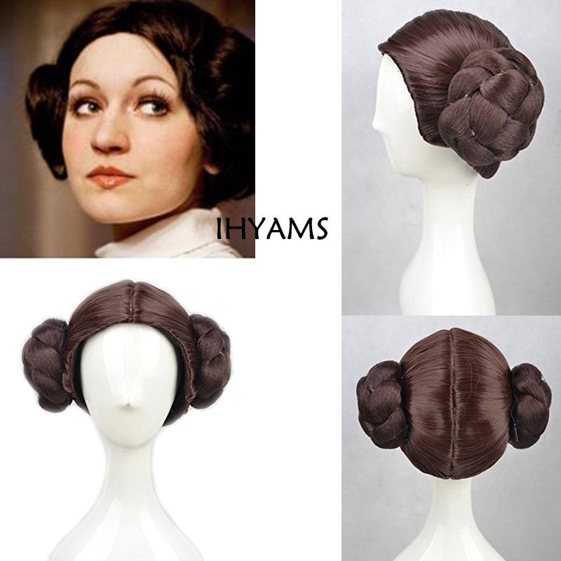Leia Organa Solo Princess Brown Short Synthetic Hair Cosplay Full Wigs With Buns Heat Resistance Fiber+wig Cap Reputation First Home