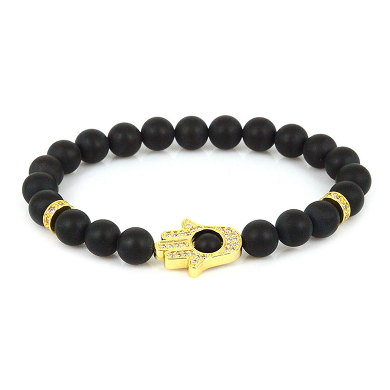 4cb699a988ce Buda Yoga pulseras de la suerte CZ cuentas de mal ojo pulsera mujeres  hombres negro ónix cuentas brazalete Fátima mano Hamsa pulseras Femme
