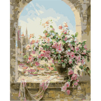 DIY Framless Oil Painting By Numbers Hand Painted On Canvas Window Flowers Pictures Home Decor