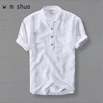 WMSHUO Camisas Dos Homens de Moda Verão 2018 de Manga Curta Slim Camisas Ocasionais da Cor Camisas De Linho Branco Masculino Plus Size 4XL Tops y001