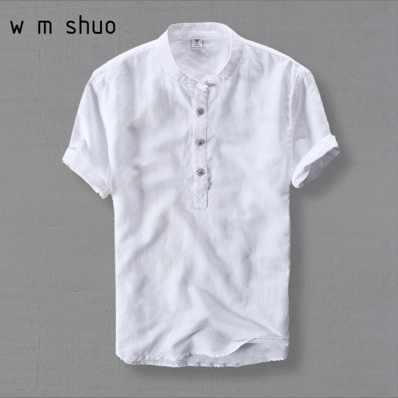 WMSHUO Mens Shirts Fashion 2018 Summer Short Sleeve Slim Linen Shirts Male White Color Casual Shirts Plus Size 4XL Tops Y001