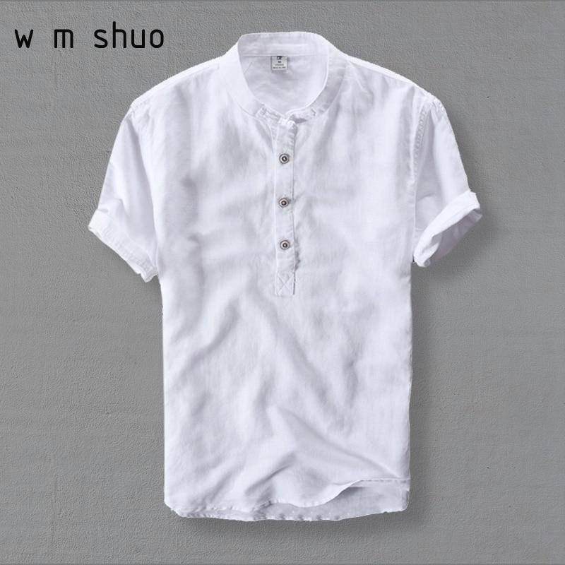 Wmshuo Mens Shirts Fashion Summer Short Sleeve Slim Linen Shirts Male White Color Casual Shirts Plus Size 4xl Tops Y001