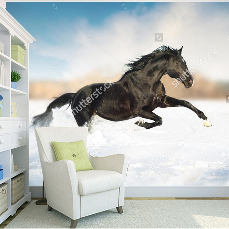 Custom natural landscape wallpaper,Black horse,photo mural for living room bedroom restaurant background wall wallpaper custom green forest trees natural landscape mural for living room bedroom tv backdrop of modern 3d vinyl wallpaper murals