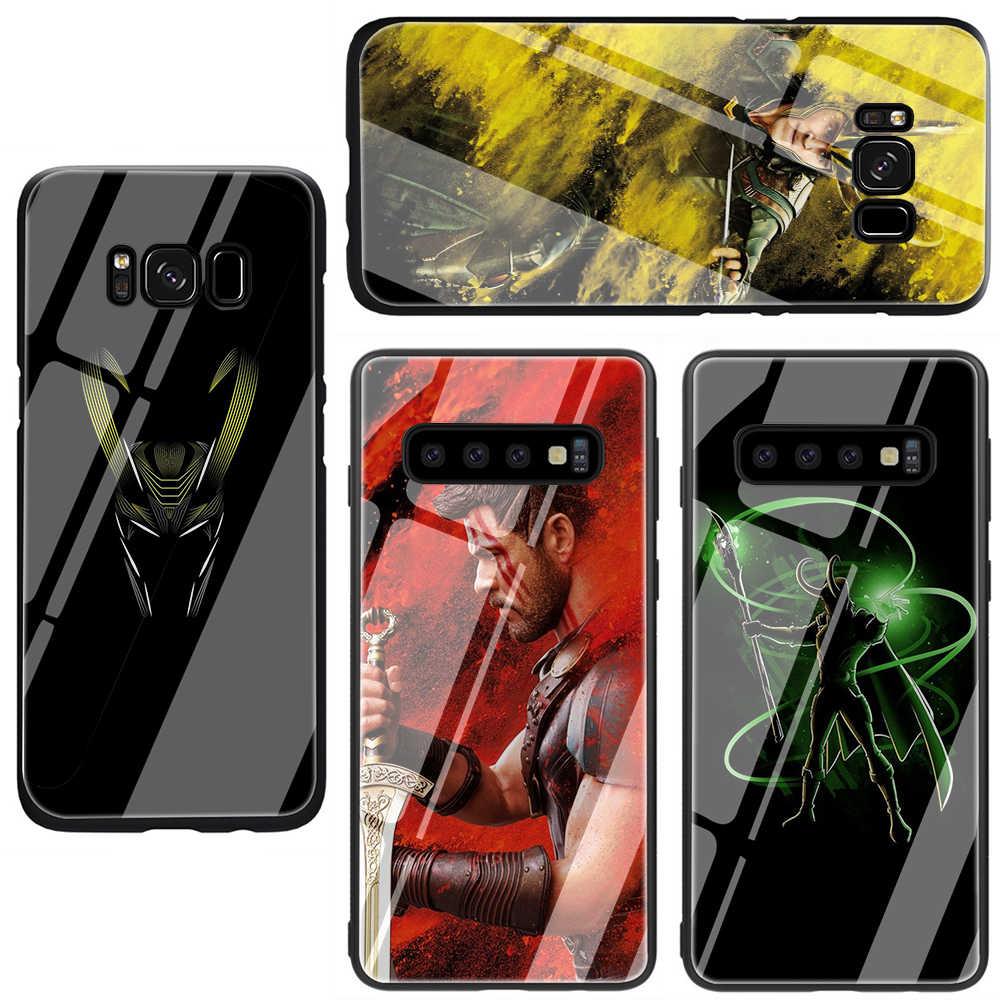 Marvel Anh Hùng Loki Kính Cường Lực Điện Thoại Bao Ốp Lưng Dành Cho Samsung Galaxy Samsung Galaxy S7 Edge S8 Note 8 9 10 Plus A10 20 30 40 50 60 70