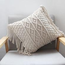 Pillow Cushion Case 45cm x 45cm hand-woven Cotton thread linen Cover Car Home Decoration Sofa Bed Decor Bohemia Pillowcase