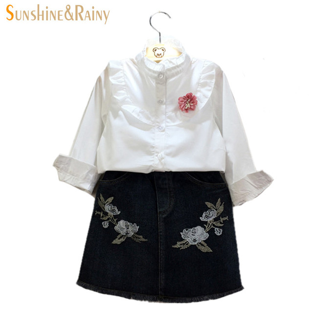 2016 New Fashion Baby Girls Denim Skirt Rose Embroidery Children Tight Skirt Girls Package Hip Skirt For Party Kid Skirt Clothes