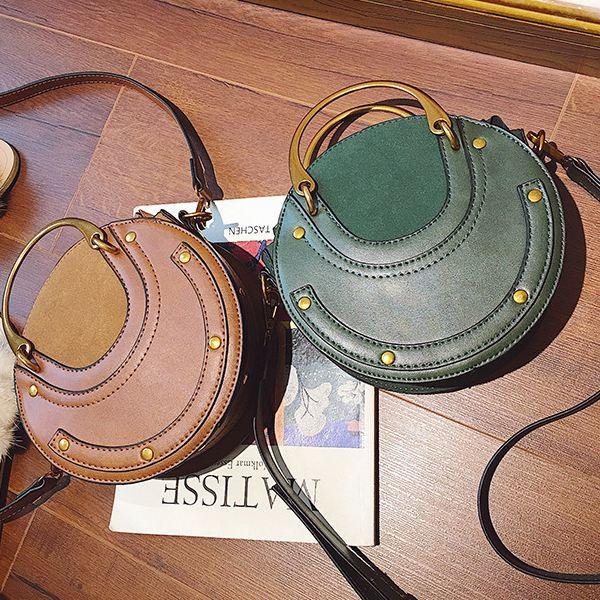 LJL Circular Scrub PU Leather Women Bags Retro Handbag Small Round Women Shoulder Mini Bag 5
