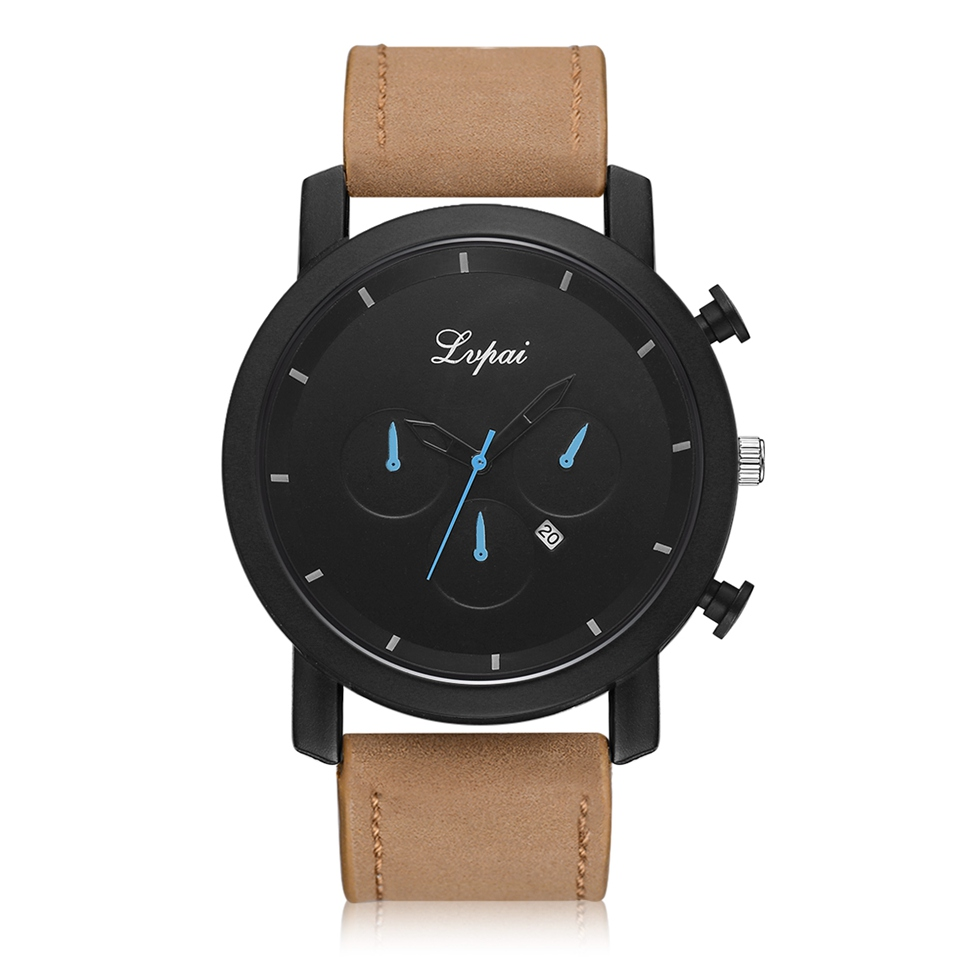 Lvpai Men Leather Sport Watch 2018 Top Brand Luxury Fashion Mens Wristwatch Fashion Dress Clock Gift Dropshipping Quartz