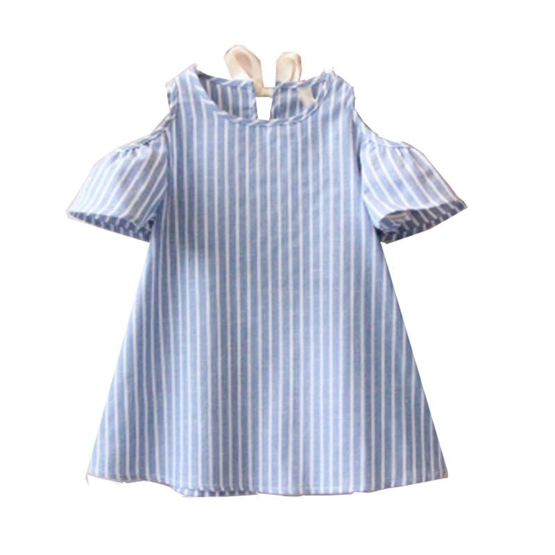 Buy new girls dress 100 cotton striped for 100 cotton dress shirt