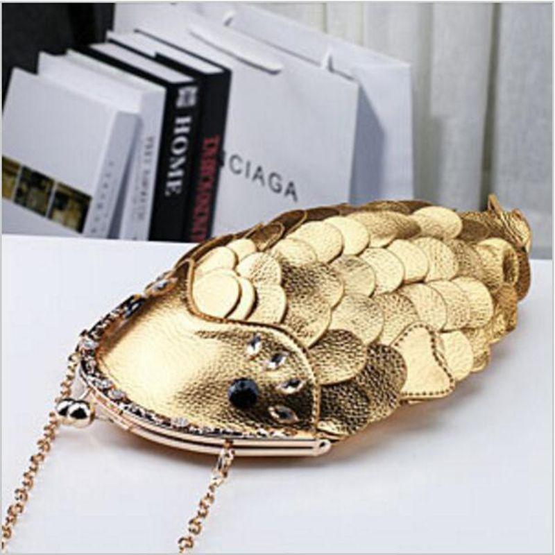 Perfect Gold Silver CLUTCH PURSE Fish Shape Bag Stylish Genuine Cowhide ModernBag Ladies Brand Designer Messenger