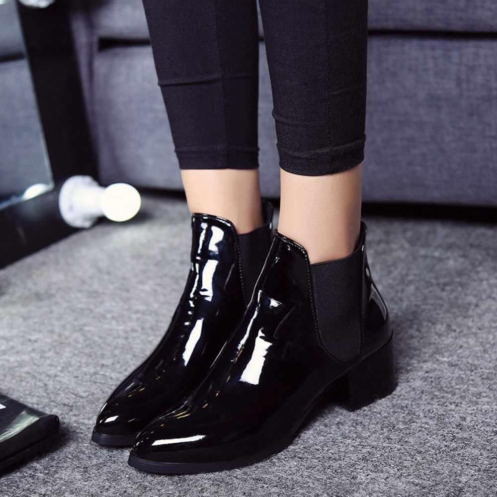 2019 Yeni Varış moda ayakkabılar Kadın Botları Elastik Patent Deri yarım çizmeler Sivri Düşük Topuk Çizmeler Kadın seksi ayakkabılar