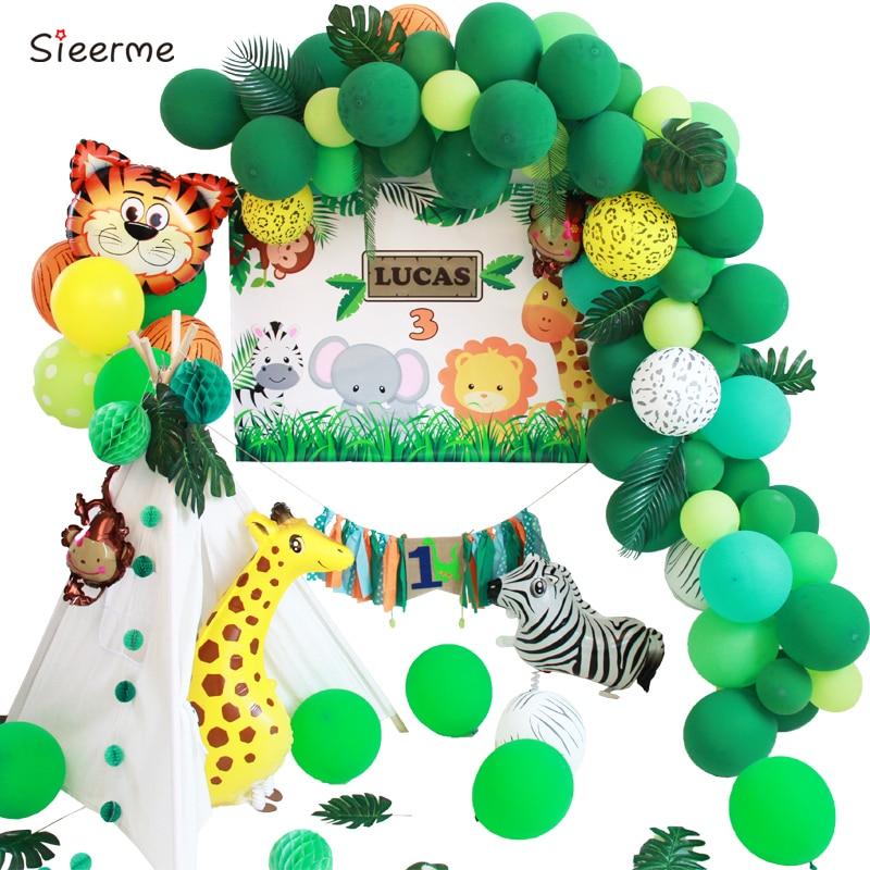 Jungle Animal Tiger lion Birthday Party Decoration balloon garland tassel Baby Shower backdrop kid's candy bar background
