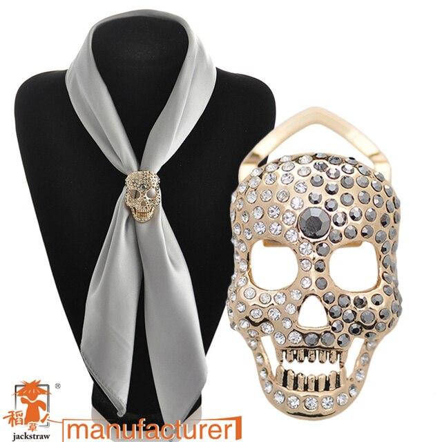 2018 Jewelry silk scarf buckle sparkling rhinestone skull brooch corsage  sweater cape pin female women dress b6d500d900a8