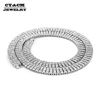 CY&CM Men's Rock HipHop Necklace Chain 3 Row Ice Out Silver Gold Color Rhinestone Crystal Necklaces Link Punk Jewelry Women 30