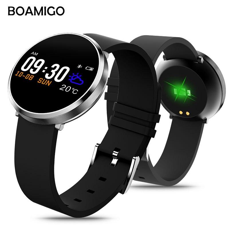 Montre intelligente Bluetooth Android IOS Smartwatch appel téléphonique rappel Calories moniteur de fréquence cardiaque Bracelet de marque BOAMIGO