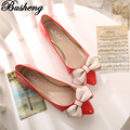 Plus Size 33-43 Womens Flat Shoes Bowtie Wedding Shoes Pointed Toe Ladies Shoes 2016 Spring Shoes Women zapatos planos mujer