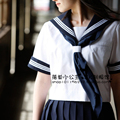 White&Navy blue Japanese girl school uniform short sleeve summer sailor student uniform fashion dress cosplay costume