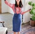 Высокая талия джинсовый сарафан юбка 2015 женщин сексуальный рабочая одежда мода повседневная denim чулок юбка-карандаш комбинезоны с сплит