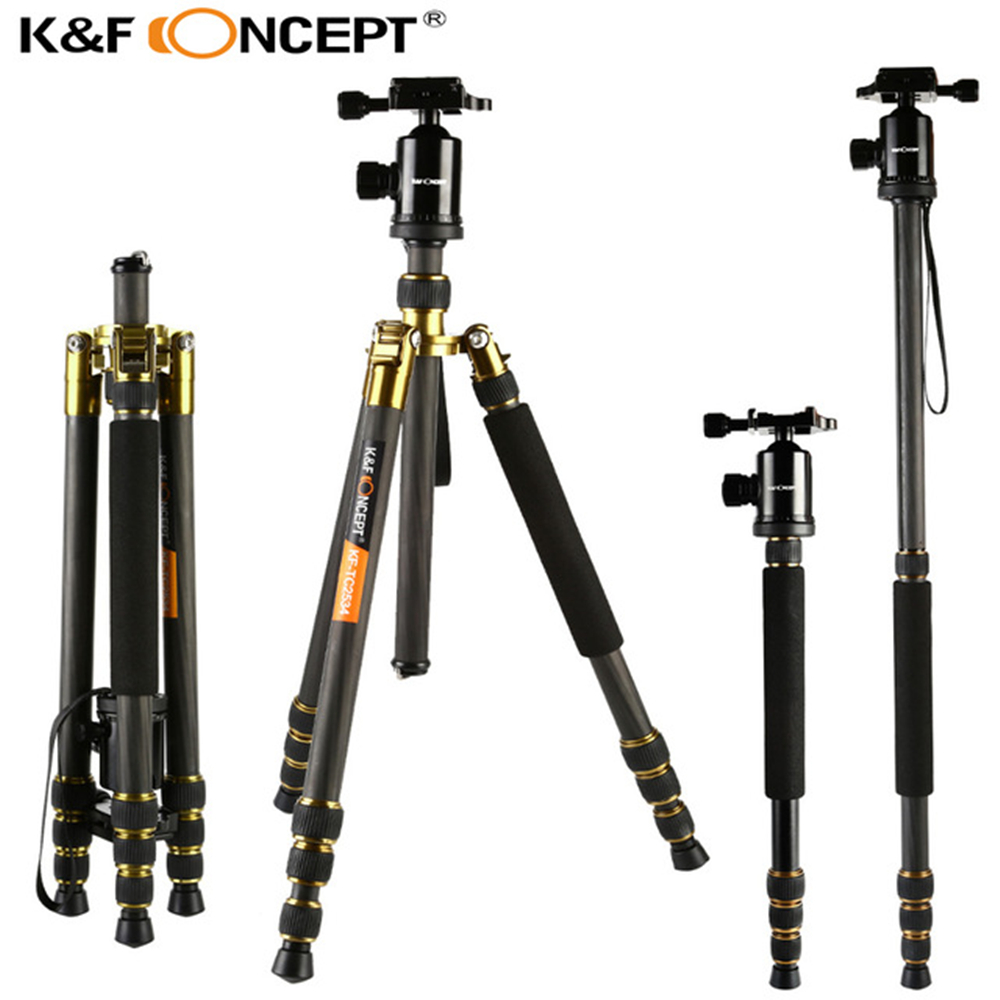 K&F CONCEPT TC2534 Professional Travel Carbon Fiber Tripod Camera Monopod Tripods +Ball Head+ Carry Bag for Digital Camera shockproof dustproof camera tripod carry bag