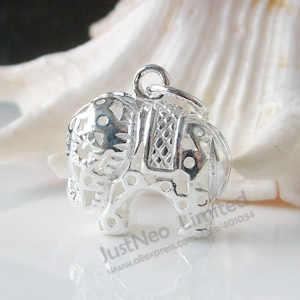 Stałe 925 srebro urok, wycięcie słoń paciorek do naszyjnika wisiorki dla naszyjnik i wisiorek biżuteria, 1pc