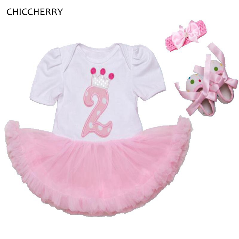 Crown Number 2 Years Birthday Party Outfits 3pcs Pink Baby Girl Dress Headband & Shoes Set Conjunto De Bebe Toddler Girl Clothes