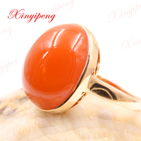 Xinyipeng18K rose gold inlaid natural south red agate rings for women design is beautiful