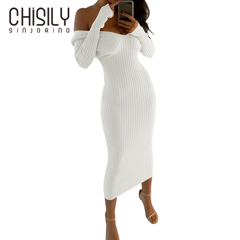 a9259477ab CHISILY SINJORINO Women Sexy Knitted Sweater Long Dresses V neck Slim Midi  Party Winter Bandage Dress Bodycon Female Stretchy