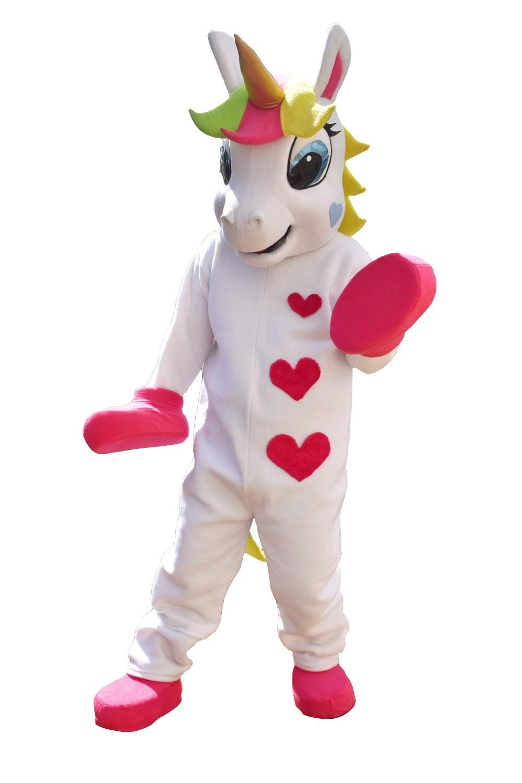 Unicorn PONY traje da mascote Do traje Da Mascote Animal bonito coração impresso Desfile Palhaços Aniversários para Adultos trajes de festa do Dia Das Bruxas