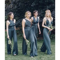 New Design Convertible Bridesmaid Jumpsuits Chiffon Backless Country Bridesmaids Dresses Pleat Maid Of Honor Gowns For