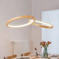 Wooights Modern Pendant Chandelier Lighting for Office Dining room Kitchen 110V 220V Lustre Cord Wooden Chandelier for home