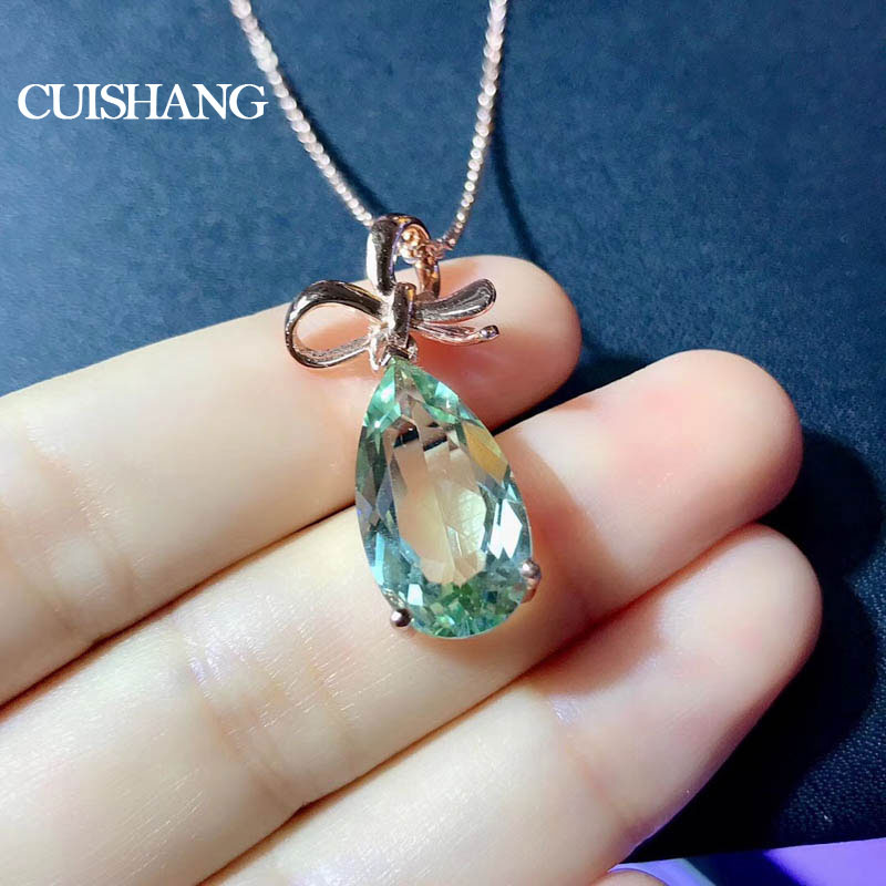 CSJ Cute Design Rings Natural Green Amethyst Quartz Ring in 925 Sterling Silver Fine Jewelry for