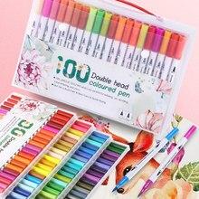24/48/60/80/100 قطعة ألوان مزدوجة رئيس قلم تحديد لرسم اللوحة المائية أقلام تلوين أقلام فرشاة القلم اللوازم المدرسية