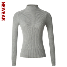NEWEAR Women Turtleneck Knitted Sweater Female High Elastic Slim Pullover Winter all match Basic Long Sleeve