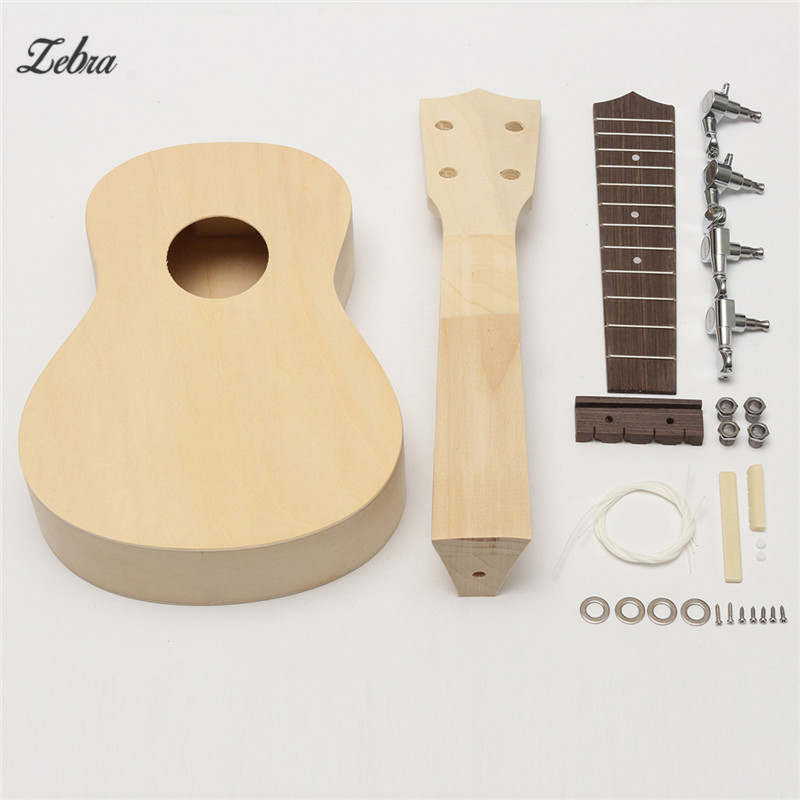 Zebra 21'' DIY Unassembled Ukulele Rosewood Fretboard Guitar Uke Soprano Hawaii Ukulele Guitarra Kit For Musical Instruments 26 inchtenor ukulele guitar handcraft made of mahogany samll stringed guitarra ukelele hawaii uke musical instrument free bag