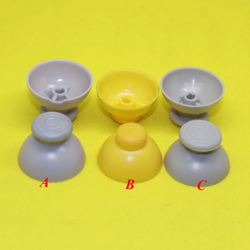 Gray & Yellow Analog Thumbsticks Caps replacement For Nintendo Gamecube Controller