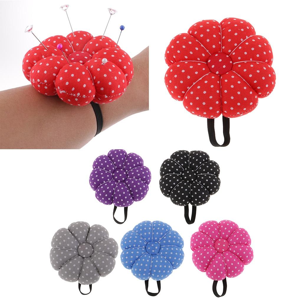 Polka Dot Pumpkin Fabric Sewing Needles Pin Cushion with Elastic Wearable Wrist Band Pin Needlework Needle Organizer Pincushion